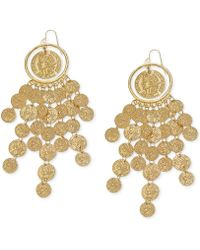 Guess Goldtone Textured Disc Drop Earrings - Lyst