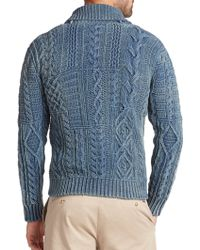 Polo Ralph Lauren Cable-Knit Shawl Cardigan green - Lyst
