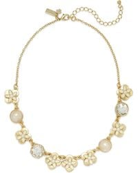 Kate Spade New York Gold-tone Enamel Flower and Faux Pearl Frontal Necklace - Lyst