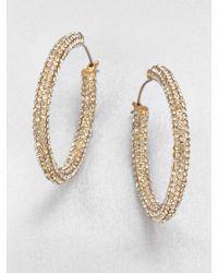 ABS By Allen Schwartz PavÉ Hoop Earrings/1.25 gold - Lyst
