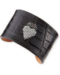 Katie Design Jewelry - Black Burning Heart Alligator Cuff With Diamonds - Lyst
