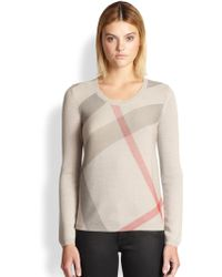 Burberry Brit Merino Wool & Cashmere Check Sweater - Lyst
