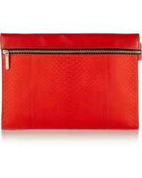 Victoria Beckham Python and Leather Clutch - Lyst