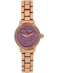 Betsey Johnson Ladies Crystallized Rose Goldtone Watch with Amethyst Crystal Dial - Lyst