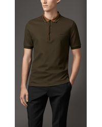 Burberry Striped Collar Polo Shirt - Lyst