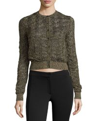 M Missoni Metallic Knit Button-Down Sweater - Lyst