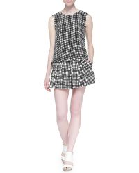 L'Agence Sleeveless Plaid Crepe Top - Lyst