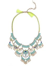 Kent & King - 'drama' Crystal Bib Necklace - Turquoise/ Gold - Lyst