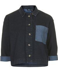 Topshop Overdyed Denim Shirt  - Lyst
