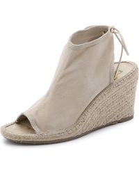 DKNY Diane Lace Up Suede Wedge Booties - Sand - Lyst