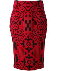 Alexander McQueen Patchwork Pencil Skirt - Lyst