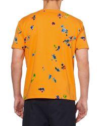 Raf Simons Flower-Print Cotton T-Shirt orange - Lyst