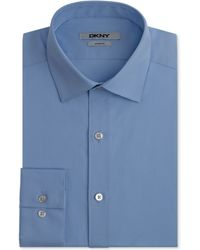 DKNY Slim-fit Medieval Blue Solid Dress Shirt - Lyst