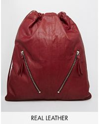 Asos Leather Drawstring Backpack With Double Zips purple - Lyst