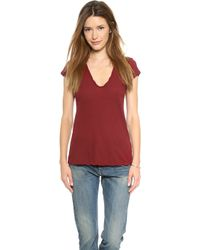 James Perse High Gauge Jersey Deep V Tee  - Lyst