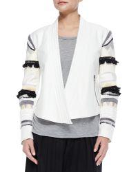 Tibi Fringe-Embroidered Cropped Open Jacket - Lyst
