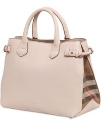 Burberry Medium Banner Leather Bag With Check - Lyst