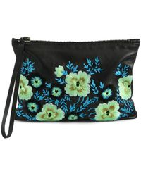 Christopher Kane Embroidered Leather Wristlet Clutch - Lyst
