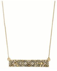 House Of Harlow Necklace Goldtone Pave Tribal Rectangle Bar Pendant Necklace - Lyst
