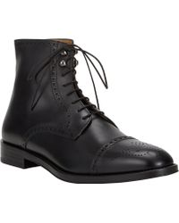 Barneys New York Medallion Captoe Boots - Lyst
