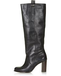 Topshop Captive 70s Straight Leg Boots  Black - Lyst
