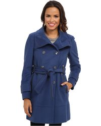 Calvin Klein Double Breasted Belted Convertible Stand Collar Wool Trench Coat - Lyst