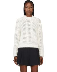 3.1 Phillip Lim Ivory Open_knit Sweater - Lyst