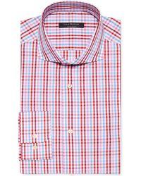 Isaac Mizrahi Slim-Fit Red Multi-Check Dress Shirt - Lyst