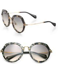 Miu Miu 54Mm Round Sunglasses gold - Lyst