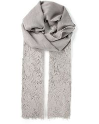 Valentino Gray Lace Scarf - Lyst