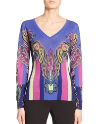 Etro Silk/Cashmere Paisley Striped Sweater - Lyst