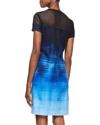Elie Tahari Cassie Meshtop Venue On Canvasprint Dress - Lyst