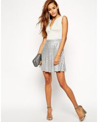 Asos Iridescent Curved Plunge Skater Dress - Lyst