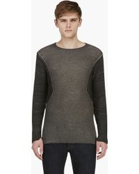 Diesel Black Gold Grey Dual Knit Long Sleeve Kiumi Top - Lyst