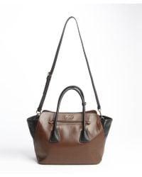 Prada Brown and Black Leather Convertible Top Handle Bag - Lyst