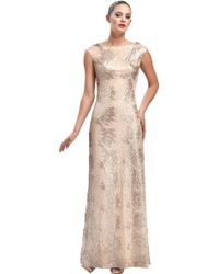Sue Wong Animal Metallic Lace Overlay Gown - Lyst