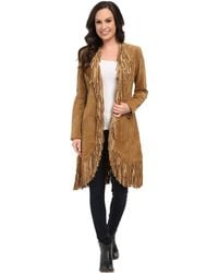 Scully - Helena Long Soft Suede Fringe Leopard Lining Coat - Lyst