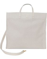 Clare V. - Cream Perforated Simple Tote - Lyst