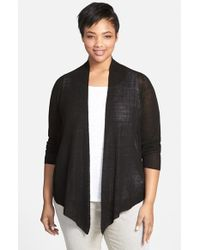 Eileen Fisher Angle Front Cardigan - Lyst