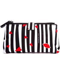 Lulu Guinness Cutout Lips Stripe Double Makeup Bag - Lyst