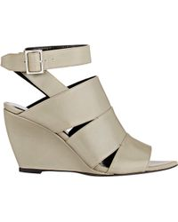 Narciso Rodriguez Crisscross-Strap Wedge Sandals beige - Lyst