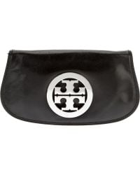 Tory Burch Black Logo Clutch - Lyst