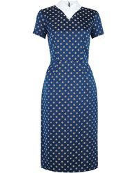 Suno White Collar Navy Jacquard Dress - Lyst