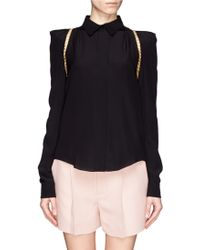 Chloé Chain Trim Silk Shirt - Lyst