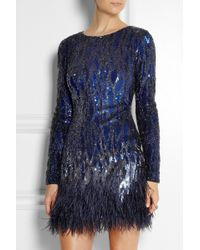 Matthew Williamson Feathertrimmed Sequined Mini Dress - Lyst