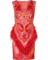 Matthew Williamson Swarovski Crystal-Embellished Printed Silk Dress - Lyst
