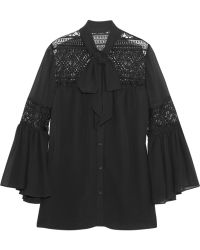Alice By Temperley - Fleur Lace-Paneled Georgette Blouse - Lyst