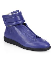 Maison Margiela Leather High-Top Sneakers - Lyst