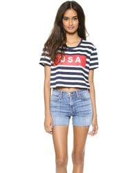 Textile Elizabeth And James Usa Stripe Cropped Tee Whitebluered - Lyst
