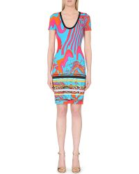 Roberto Cavalli Abstract-Print Stretch-Crepe Dress - For Women - Lyst